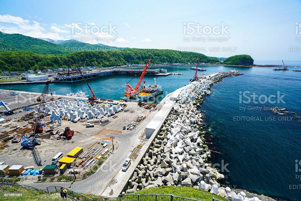 New growing port in Utoro town at Shiretoko, Japan stock photo