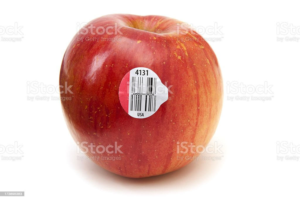 New GS1 DataBars (Bar Codes) on an Apple stock photo