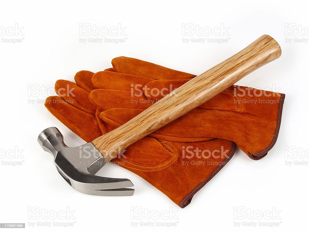 New hammer with suede gloves royalty-free stock photo