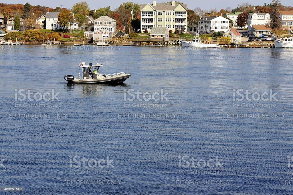 New Hampshire Marine Patrol on the Piscataqua River stock photo
