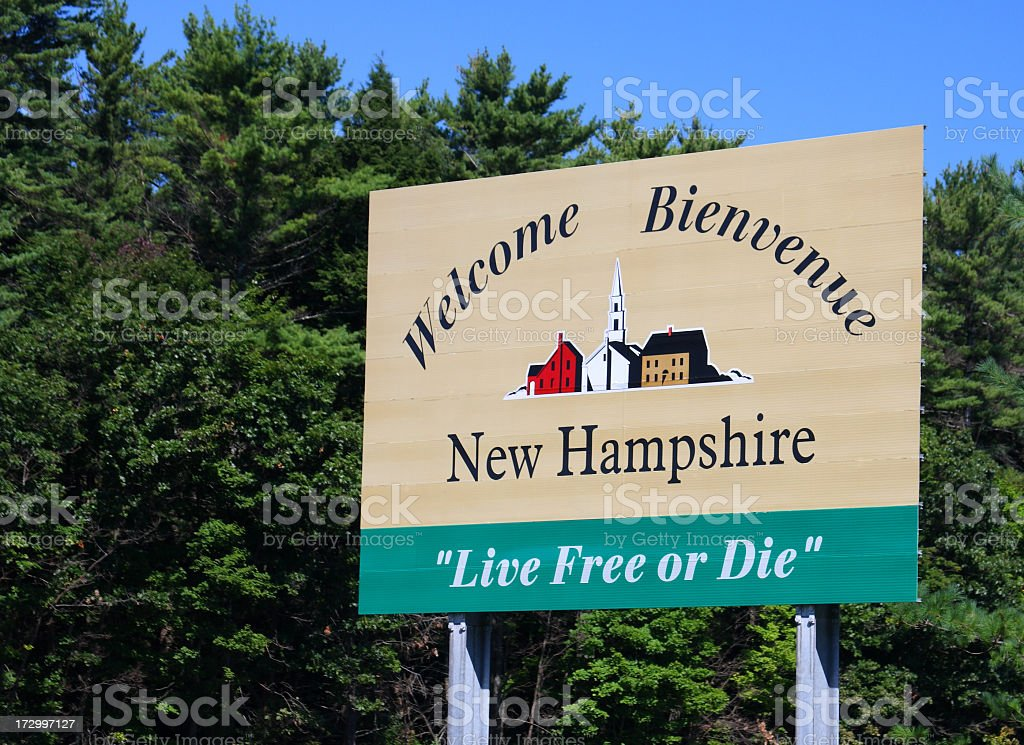 New Hampshire Welcome Sign stock photo