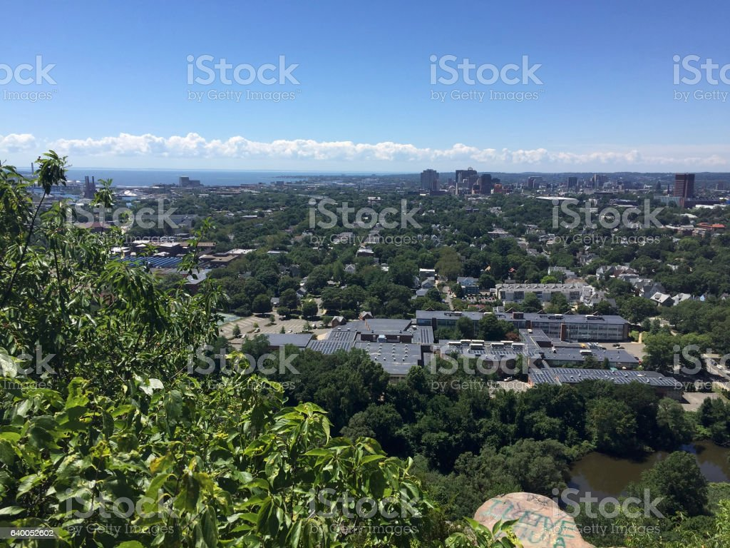 New Haven, CT from East Rock Park stock photo