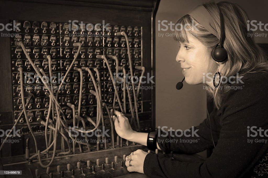 New headset Retro switchboard stock photo