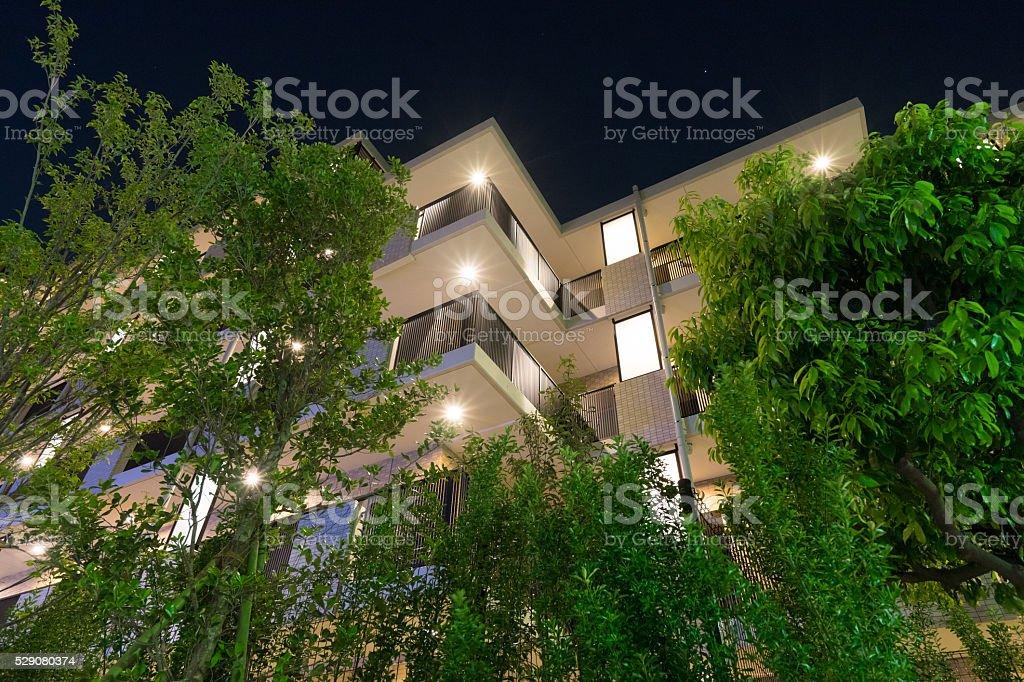 Nouveau complexe d'appartements de grande qualité, appartement (vue de nuit, Japon) photo libre de droits