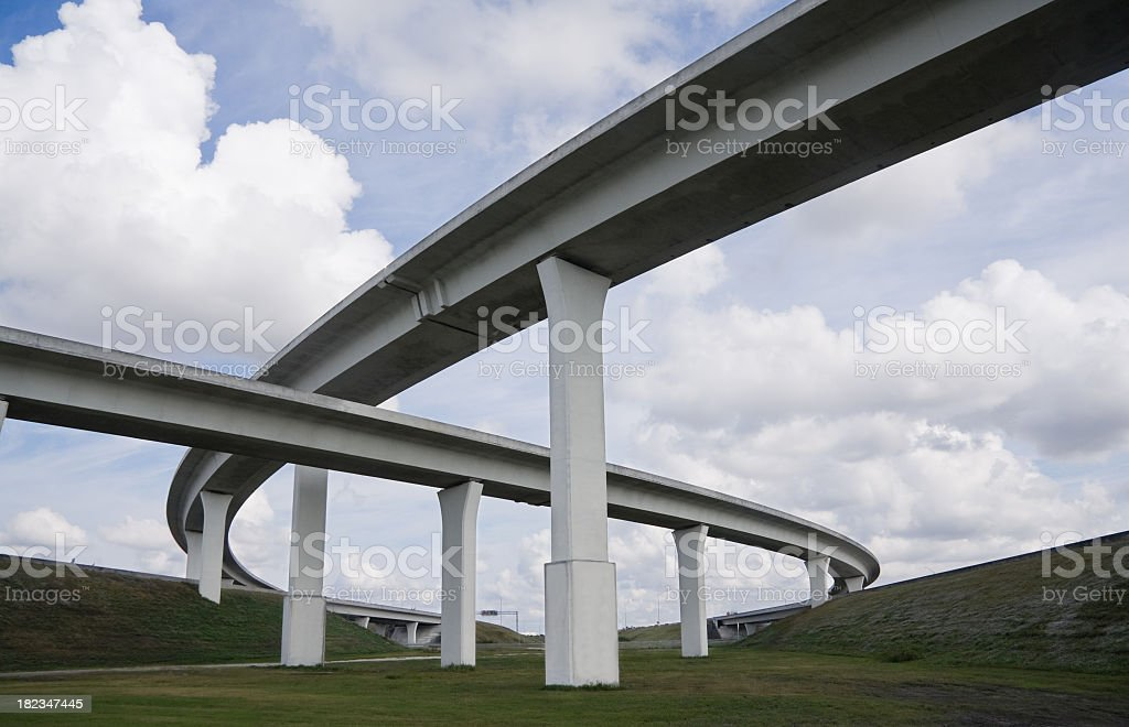 new highway construction overpass stock photo