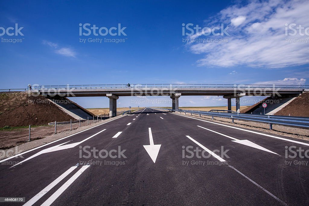 New highway in Eastern Europe stock photo
