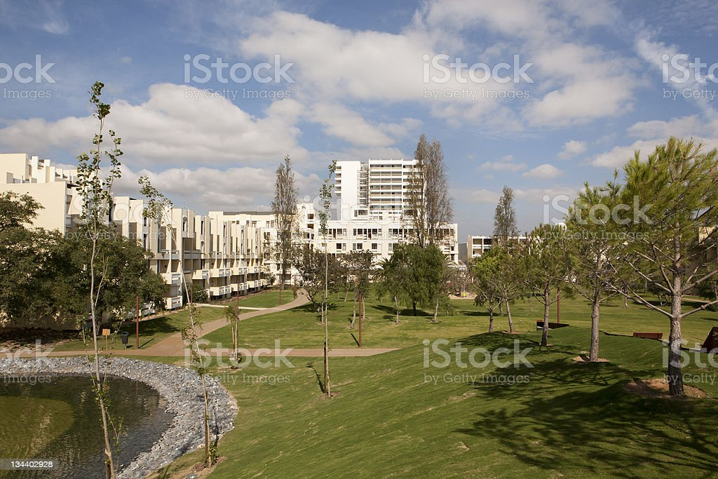 New holiday village apartment buildings in Portugal stock photo