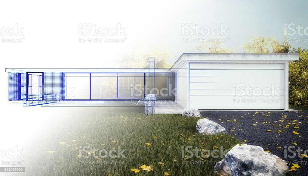 New Home - 3D render Wireframe stock photo