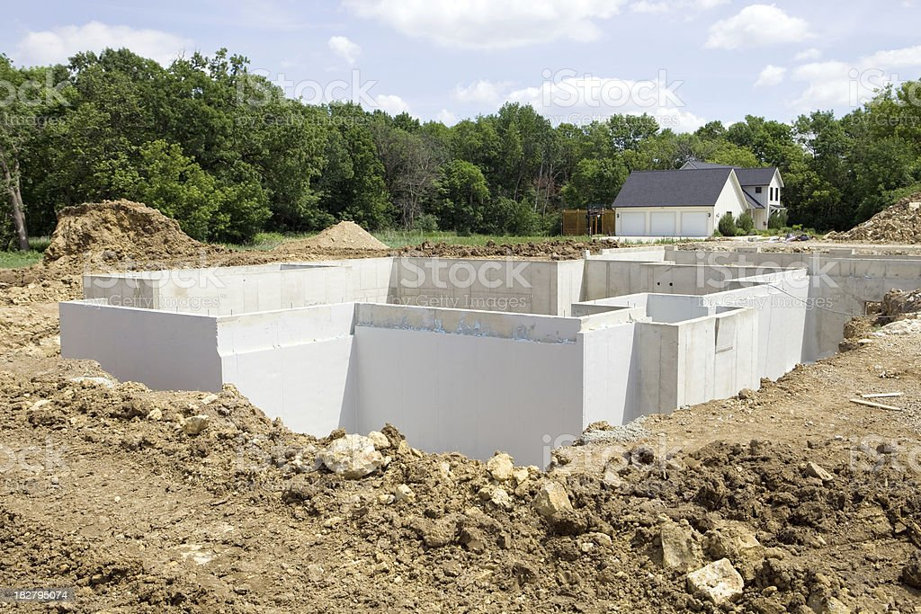 New Home Construction Foundation with Waterproofing stock photo