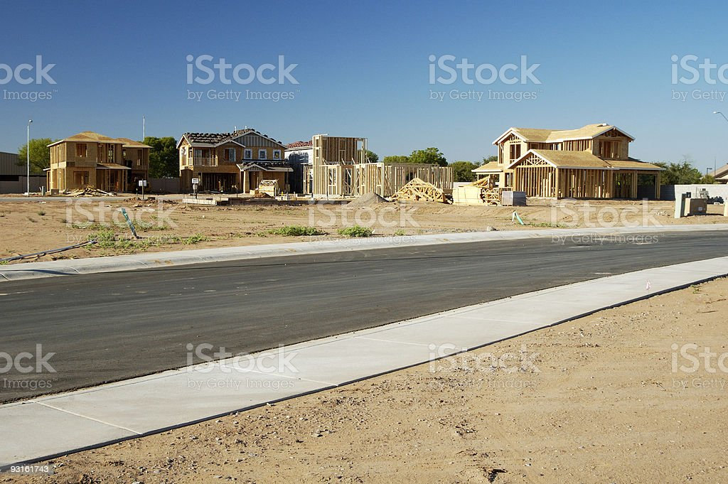 New home construction in desert area stock photo