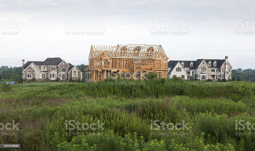 New Home Construction in growing Suburbia stock photo