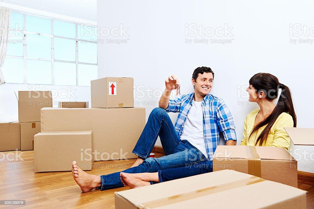 New home couple stock photo