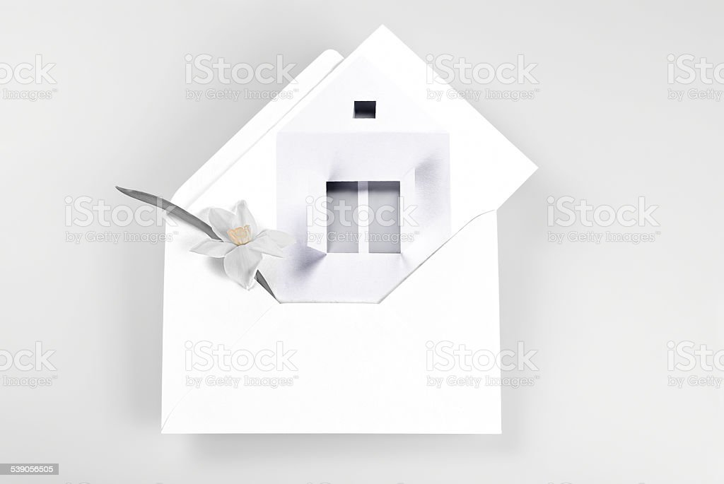 New home greetings stock photo