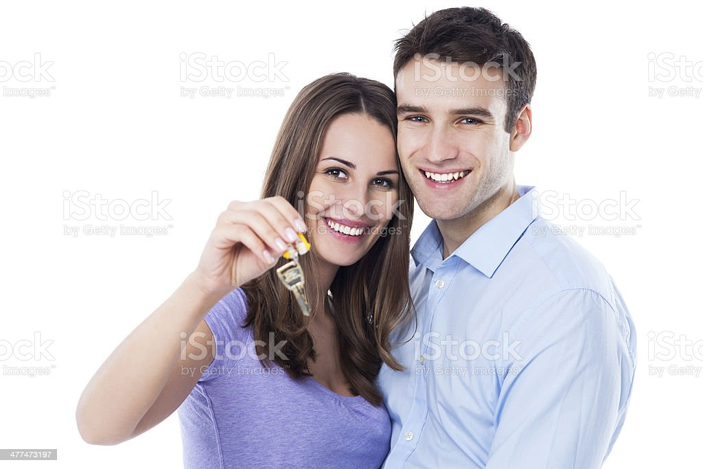 New home owners with key stock photo