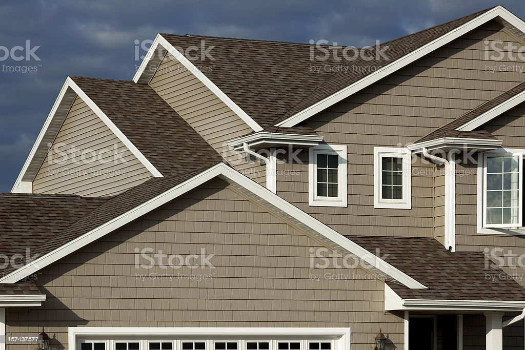 New Home, Vinyl Siding, Architectural Asphalt Shingle Roof, Real Estate stock photo