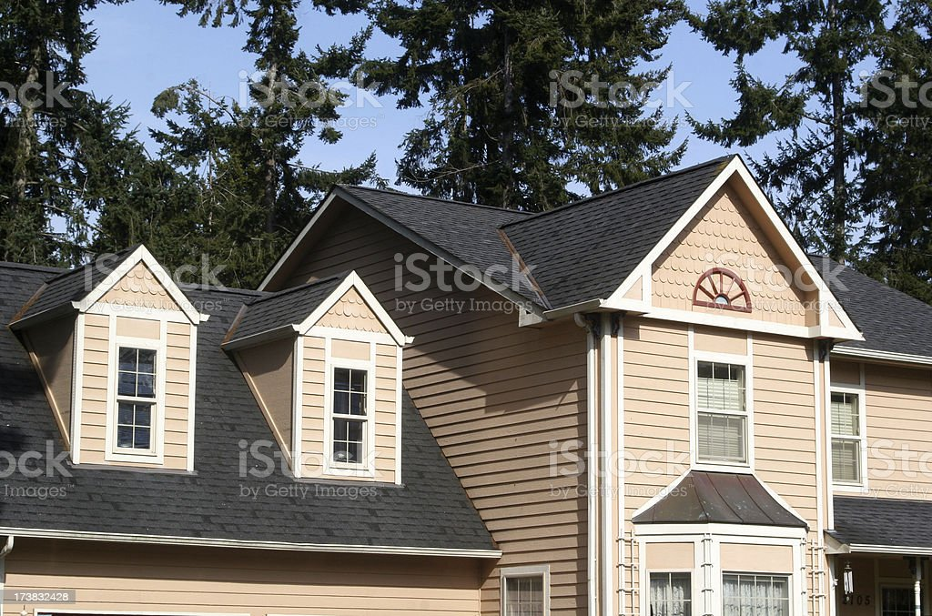 New Home With Architectural Features royalty-free stock photo