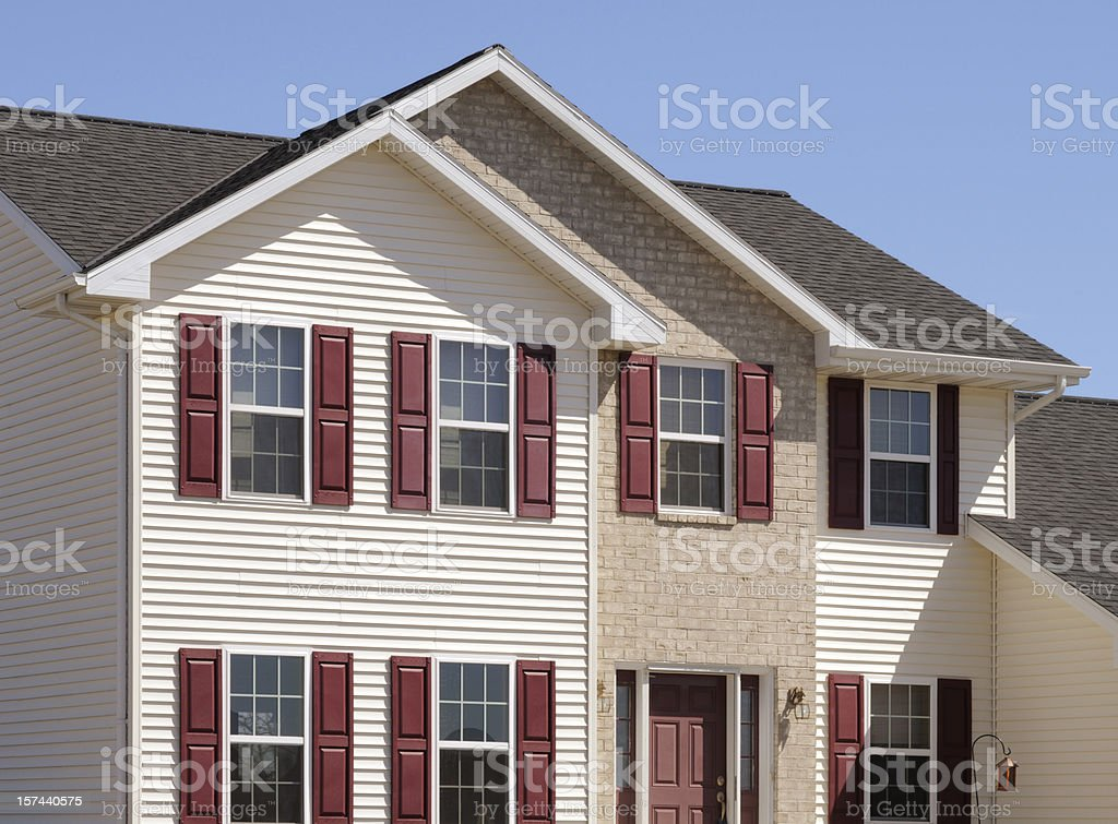 New Home With Brick and Vinyl Siding royalty-free stock photo