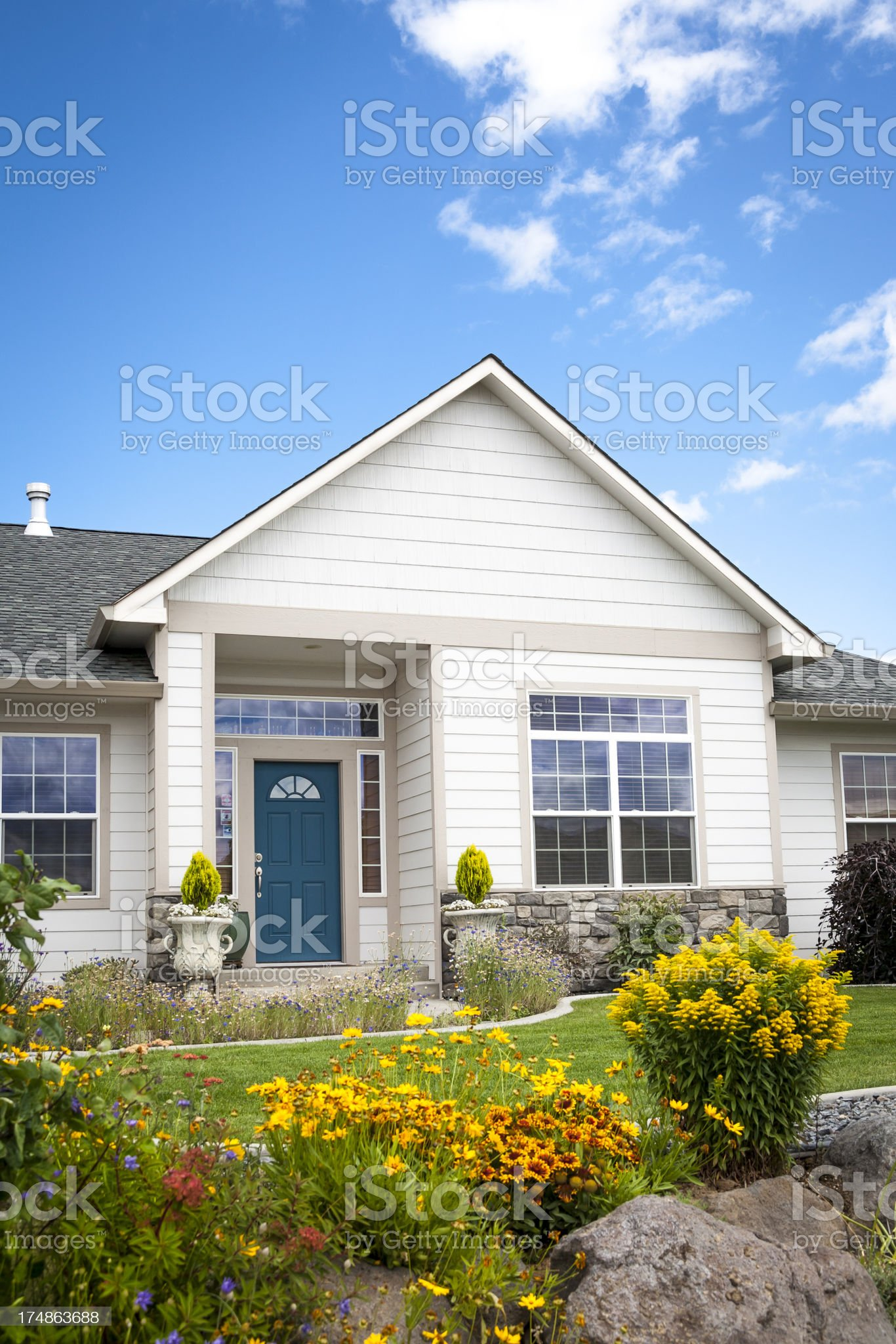 New Home with Flower Garden royalty-free stock photo