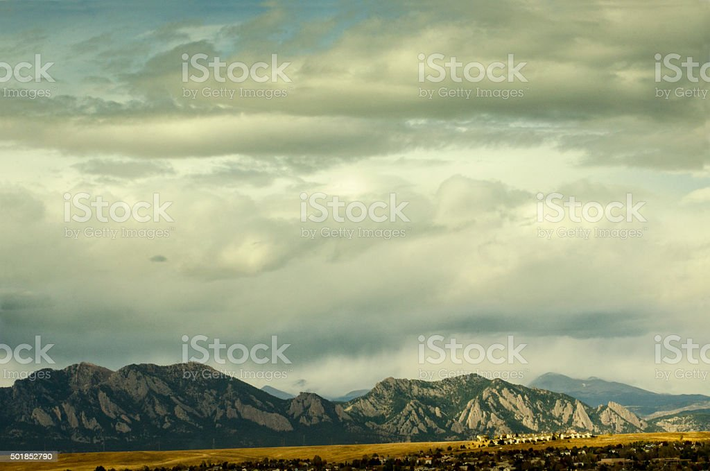 New Homes in Broomfield, Colorado and the Flatirons stock photo