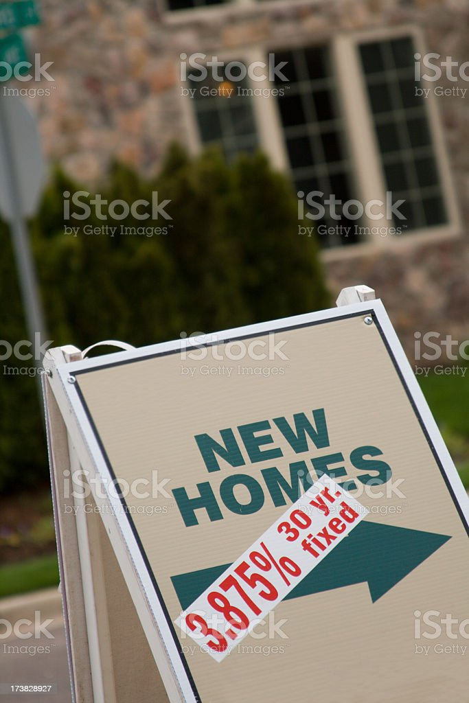 New homes sign - low interest rate royalty-free stock photo