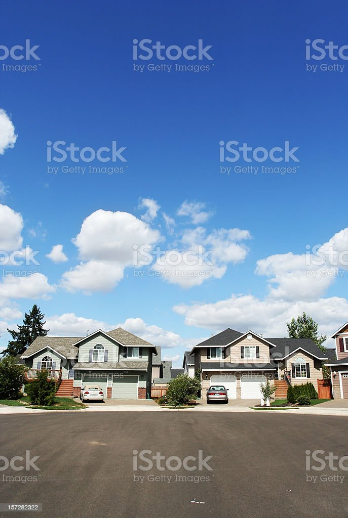 New Homes with Nice Sky and Clouds stock photo