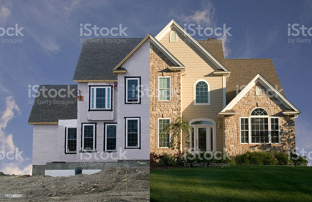 New house - before and after royalty-free stock photo