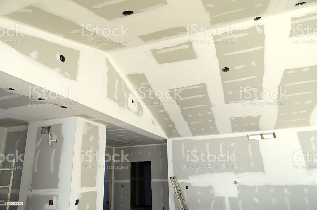 New House Construction Drywall stock photo