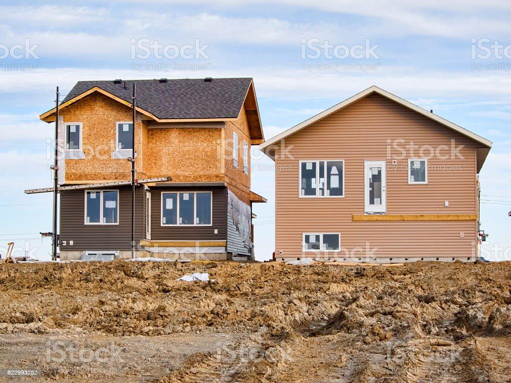 New House Construction in Saskatoon Brighton Neighbourhood stock photo