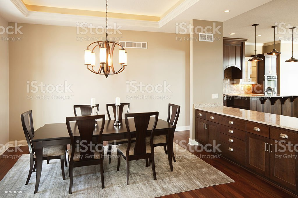 New House Dining Room Buffet Bar And Kitchen Royalty Free Stock Photo