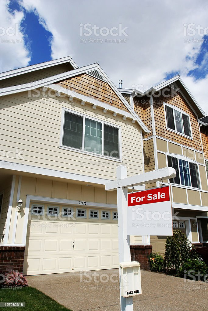 New House for Sale with Sign stock photo