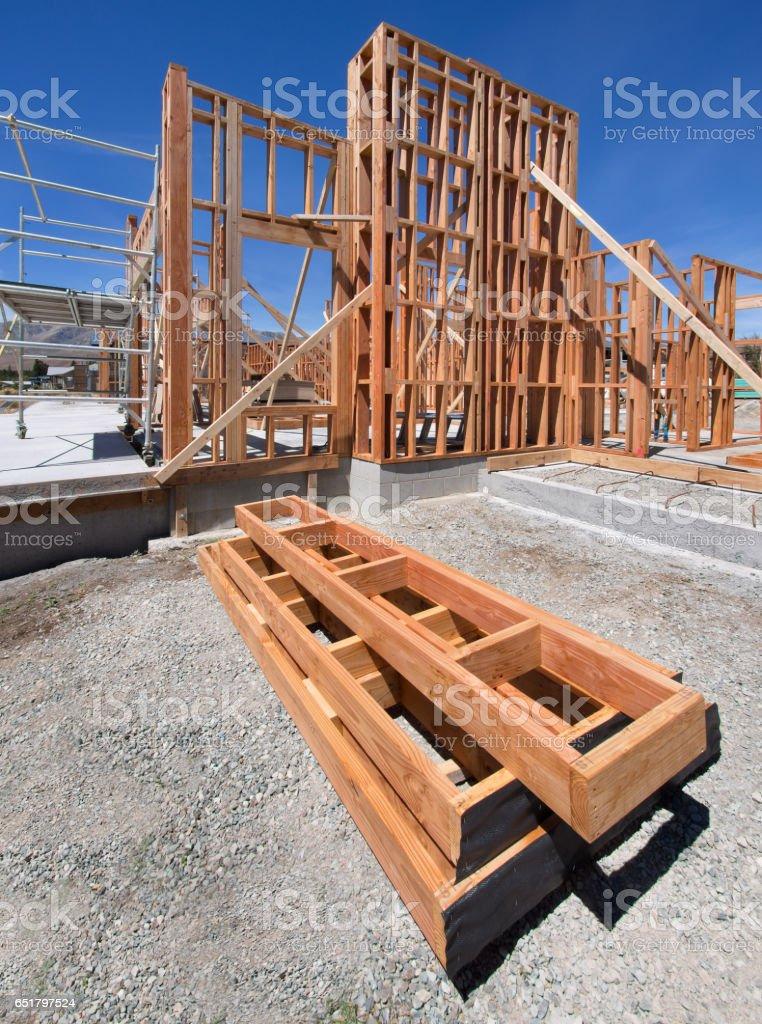 New house framing construction stock photo