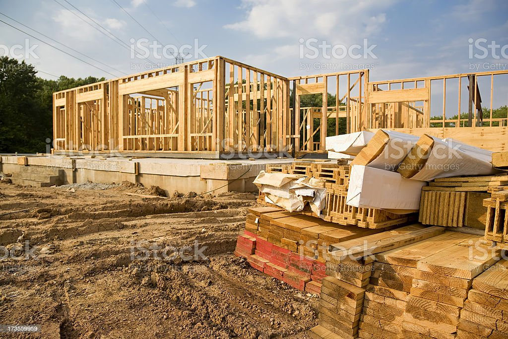 New House Framing royalty-free stock photo