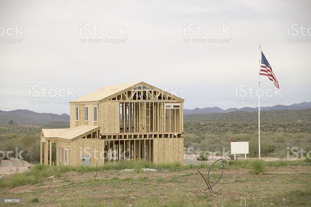 New house in desert stock photo