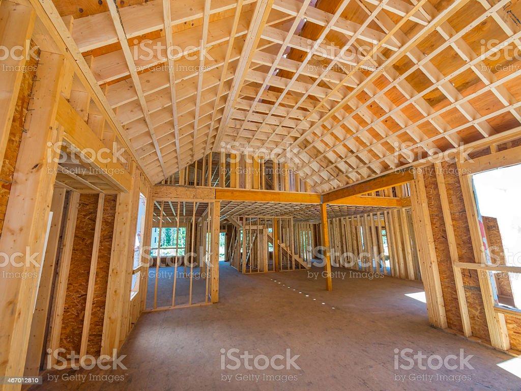 New house interior construction stock photo