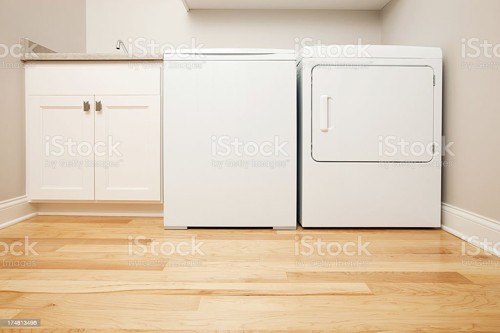 New House Laundry Room with Conventional Washer and Dryer stock photo