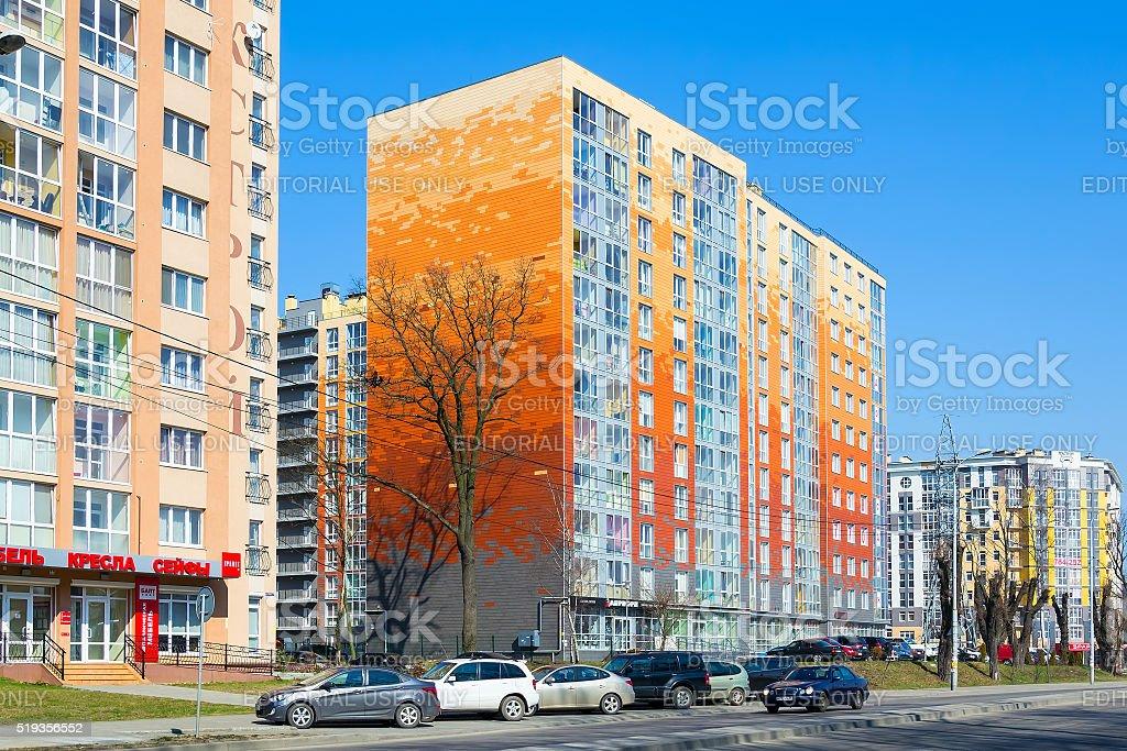 new house on Gagarin street in Kaliningrad stock photo