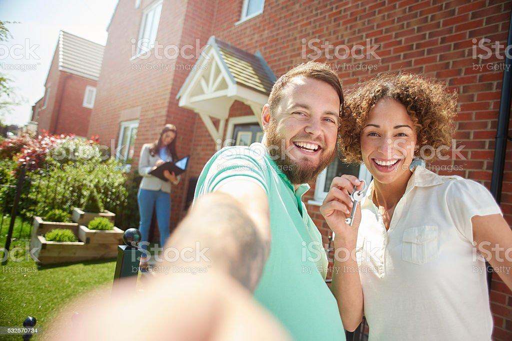 new house selfie stock photo