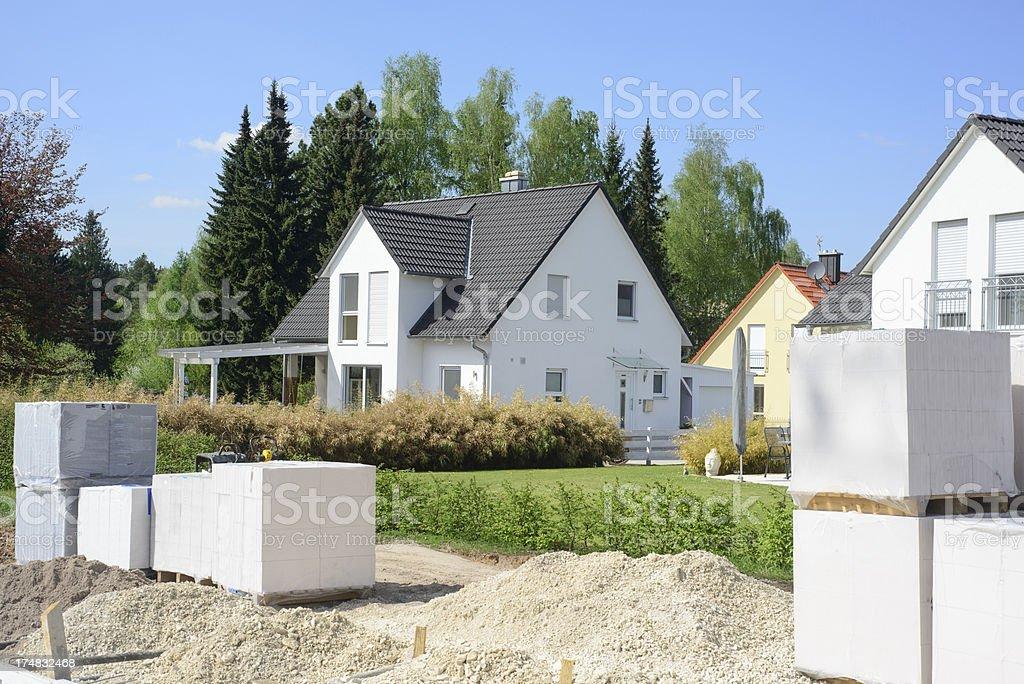 new house - unfinished reconstrcution Neubau stock photo