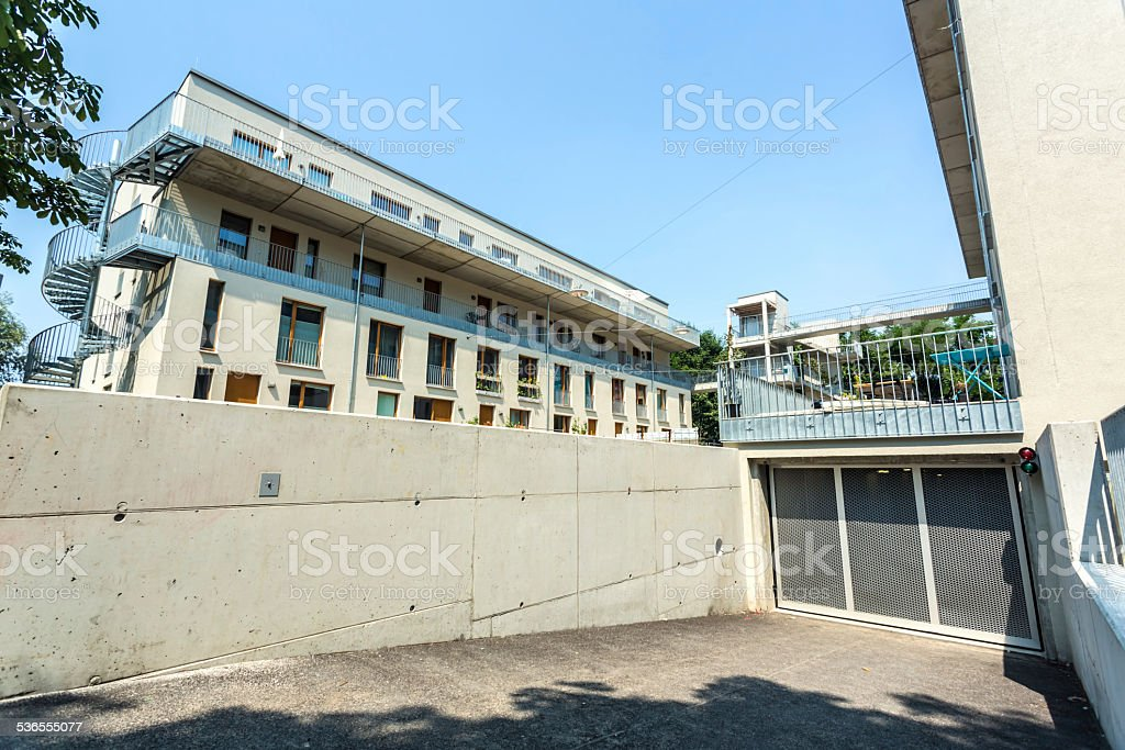 New house with parking garage stock photo