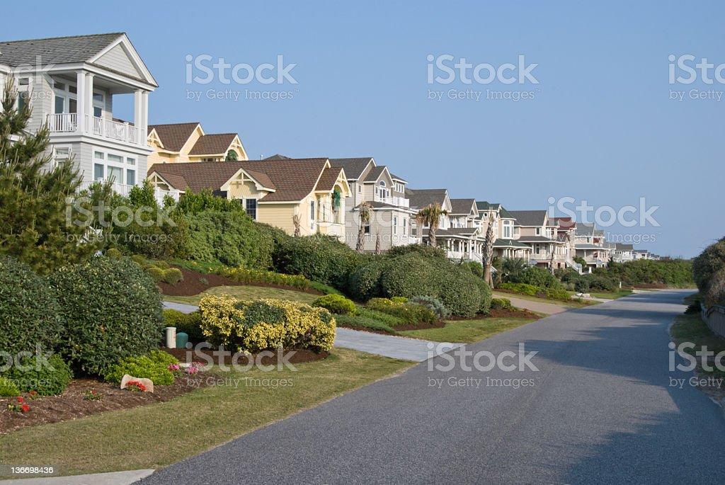 New Houses Along Suburban Street royalty-free stock photo