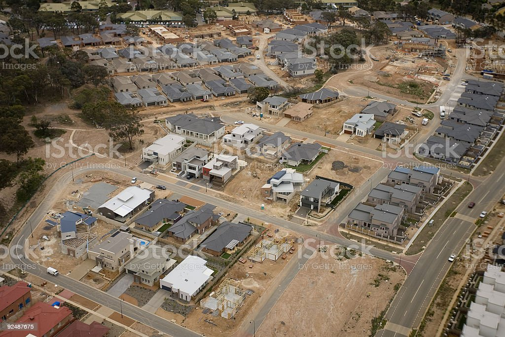 New housing development aerial shot area in Canberra, Australia royalty-free stock photo