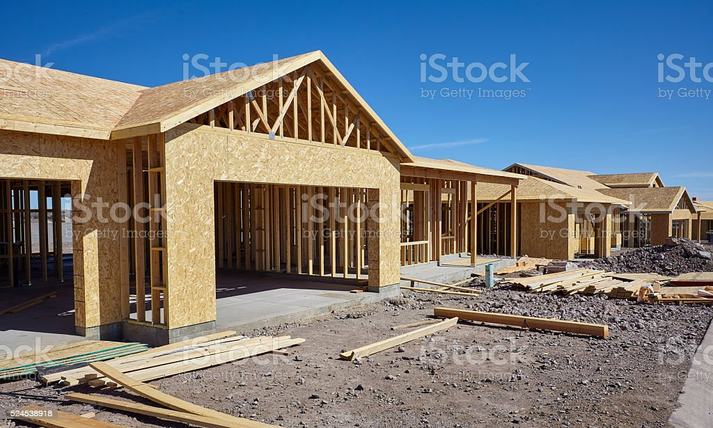 New housing project in progress construction industry stock photo