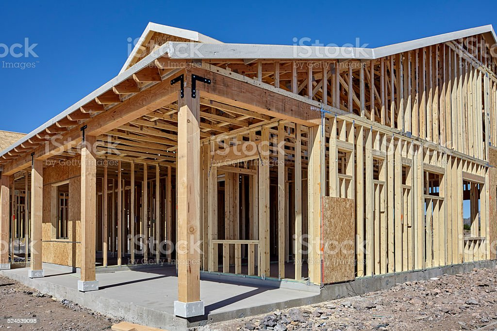 New housing wood frame construction industry stock photo