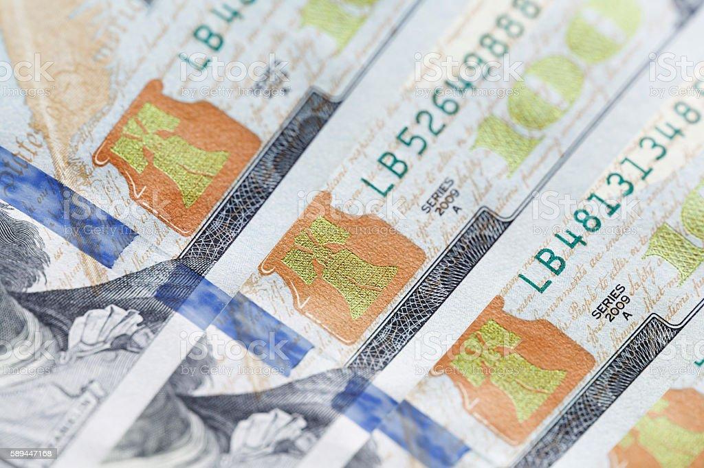 new hundred dollar bill closeup stock photo