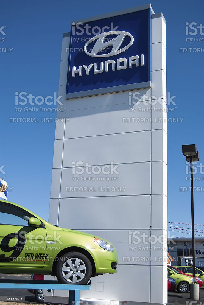 New Hyundai Accent at Dealership by Sign stock photo