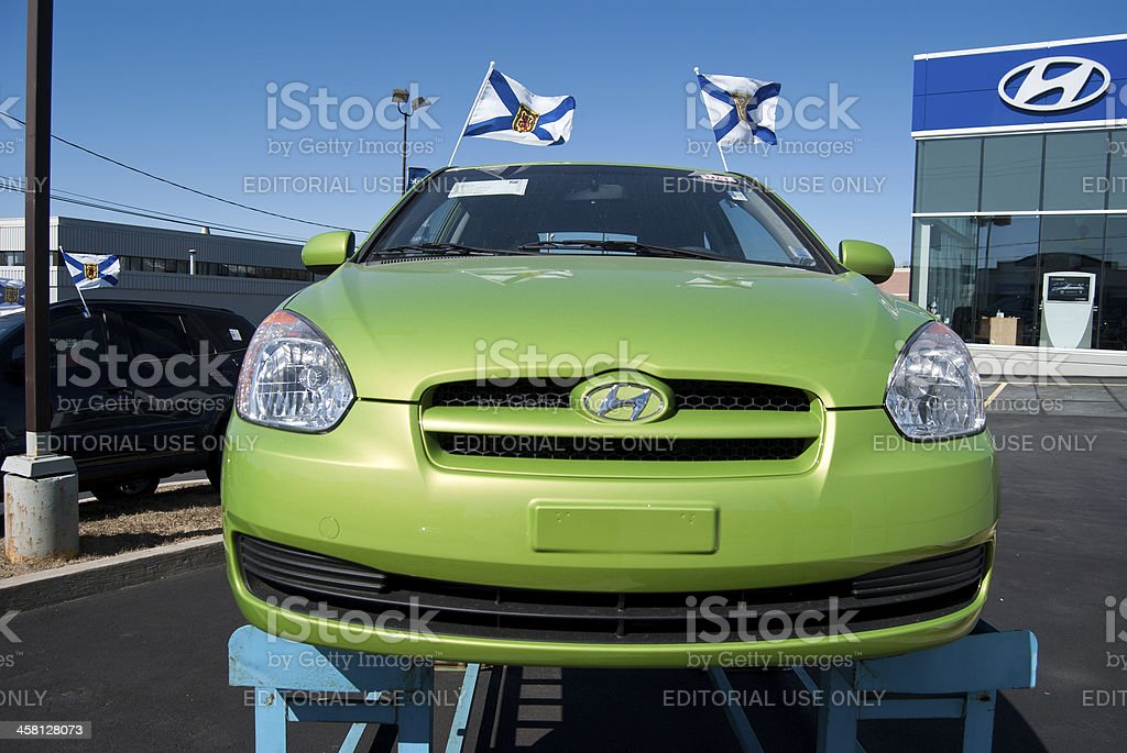 New Hyundai Accent at Dealership stock photo