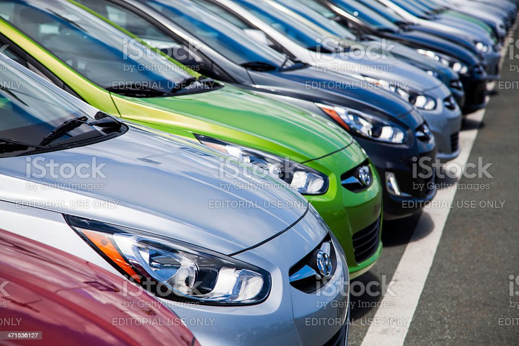 New Hyundai Accent Vehicles in a Row stock photo