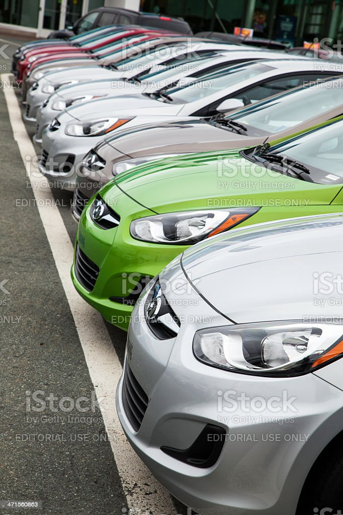 New Hyundai Accent Vehicles in a Row royalty-free stock photo