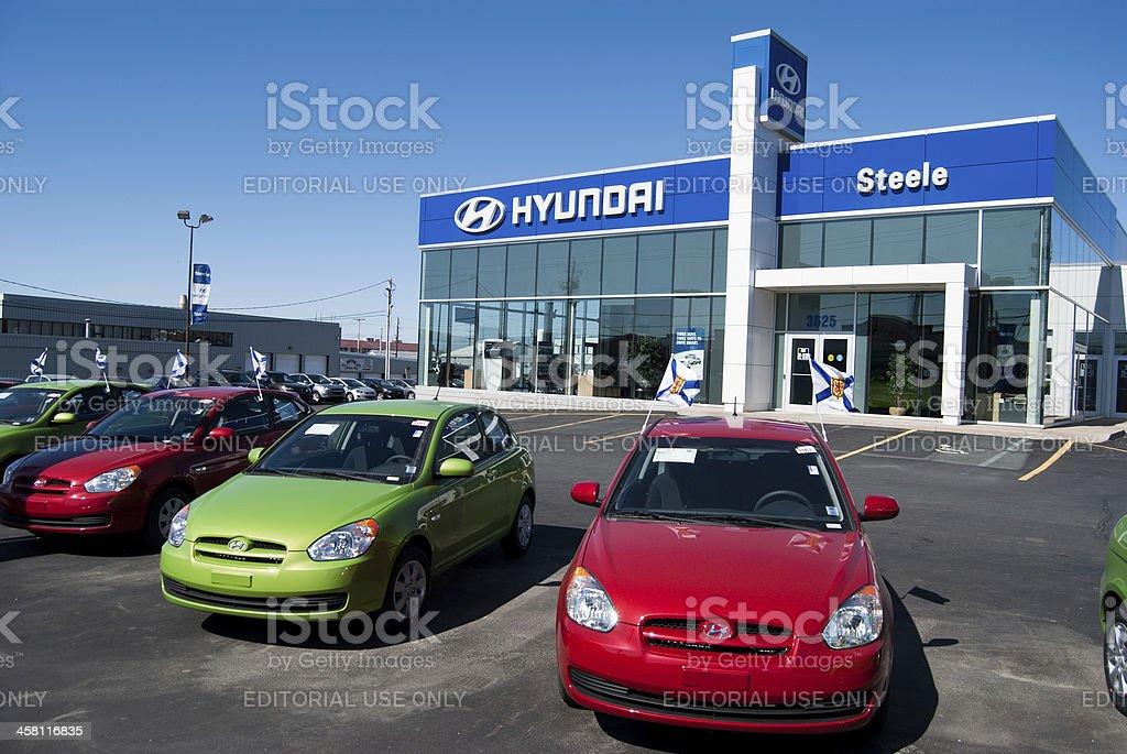 New Hyundai Accents at Dealership stock photo