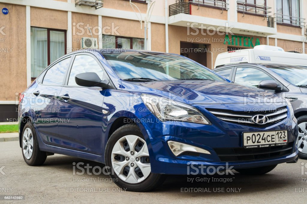 New Hyundai Elantra (Avante) parked on the street of Sochi. stock photo